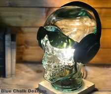 Skull Table / Desk Lamp, Choice of Base Wood Finish, Bedside Light, Home Decor,
