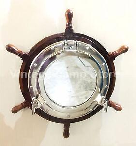 """18"""" Ship Wheel Mirror Porthole Silver Finish Wall Hanging Home Decor Porthole"""