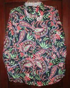 Chaps Ralph Lauren Plus Sz 2X Button Down Shirt Top Blouse Paisley Print No Iron