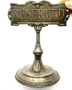 Vintage Barth & Co Nickel Silver 'Reserved' Table Sign of -The Warwick Hotel NYC