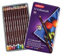 Derwent ~ Coloursoft (Colorsoft) Pencil Set ~ 12 Colors ~ With Tin ~ NIP