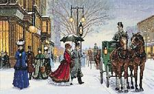 Alan Maley's Gracious Era Victorian Snowy Street Scene Counted Cross Stitch Kit