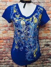 ec577e9eddb4ce Joe Boxer Womens Sz M Ruched Sides Rhinestone Top Short Sleeve Shirt Blue  Graph