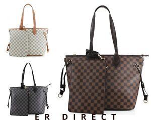 Ladies 2-in-1 Shopper Bag & Clutch Floral Checkered Pattern Ladies Shoulder Bag