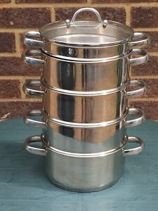 HORWOOD Stove Top 20cm 4 Tier Steamer Set + Bain Marie in VERY GOOD CONDITION