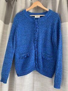 Hush Royal Blue / Black Cara Bouncle Knitted Jacket Size Medium