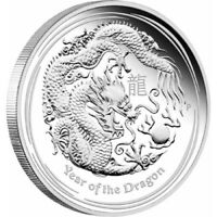 2012 Year of the Dragon 999 Silver 1 Oz Australian Lunar Coin, Perth Mint.