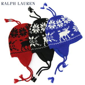 Polo Ralph Lauren Stocking Cap Ski Hat with Earflap, with Moose - 2 colors -