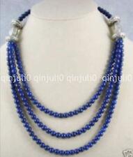 "Beautiful Tibet silver 6mm Lapis Lazuli Round Beads Necklace 18-22"" JN1283"