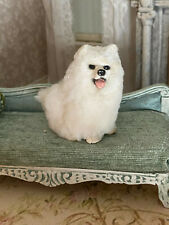 Vintage Miniature Dollhouse Artisan  Signed Wool Felted Clay White Eskimo Dog