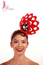 Red Flower Fascinator with Black & Diamante Centre - Made in Aussie - BNWT