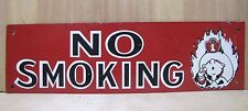 Vintage 1960s NO SMOKING Advertising Sign Fire Department Fireman thin metal FD1