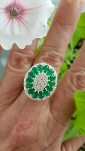 Natural Columbian Emerald w/Topaz Oval Cluster Ring, Sterling silver, Size 10