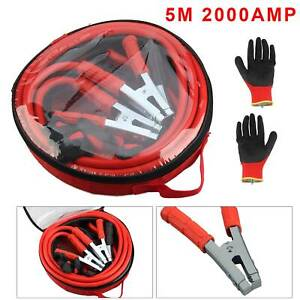 Heavy Duty 2000amp Battery Jump Leads 5 Metre Booster Cables Car Van New Gloves