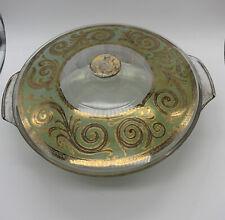 New listing Vintage Fire King/Georges Briard Swirls Splatter Gold Fleck 2Qt Casserole Dish
