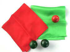 "COLOR CHANGING BALLS RED TO GREEN 12"" SILKS Scarf Hanky Magic Trick Glass Wood"