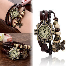 Fashion Butterfly Leather Bracelet Woman Quartz Wrap Retro Wrist Watch