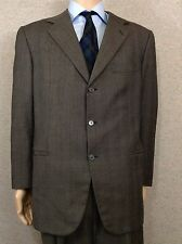 Brioni Mens Made in Italy Charcoal Glen Plaid Wool Three Button Suit 42R 35X28
