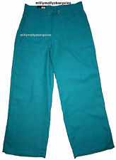 Womens Marks & Spencer Green Linen Wide Leg Trousers Size 8 Long LABEL FAULT