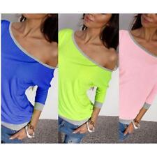Women 3/4Sleeve Casual Loose Shirt Tops Blouse T-shirt New Fashion Plus Size B