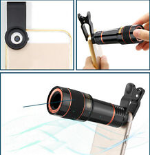 NUEVO CON CLIP 12x Zoom Óptico Telescopio Lente Para Cámara Negro iPhone 6s