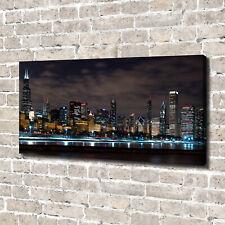 Leinwandbild Kunst-Druck 140x70 Bilder Chicago bei Nacht