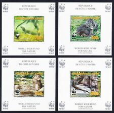 Ivory Coast WWF Speckle-throated Otter 4 Souvenir Sheets perforated reprint MNH
