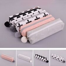 Solid Color Girls Kids Student Pencil Case School Pen Cases Stationery Bag Trend