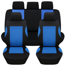 9 Pcs Breathable Polyester Blue Car Seat Covers Set for Auto Front Rear Seats
