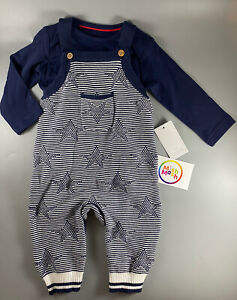 BNWT Mothercare baby boys Stars Knitted Dungarees Bodysuit romper outfit rrp £18
