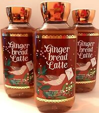 3 BATH & BODY WORKS GINGERBREAD LATTE SHOWER GEL BODY WASH 10 OZ EACH