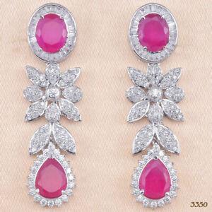 Factory Sale Cubic Zirconia Ruby CZ Dangle Earrings 24 RE 27