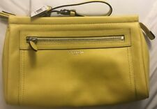 COACH Legacy Large Clutch Leather Lemon Yellow Silver Hardware Hand Bag Wristlet
