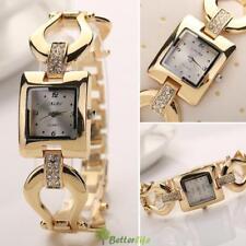 Fashion Luxury Women's Crystal Square Stainless Steel Quartz Analog Wrist Watch