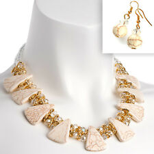 Gold and cream colour crystal choker necklace including earring jewellery set