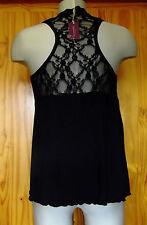 Figleaves Size 14 Sweetpea Lace Back Vest Nightwear Top Black
