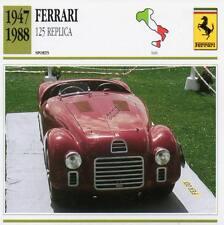 1947-1988 FERRARI 125 Replica Sports Classic Car Photo/Info Maxi Card