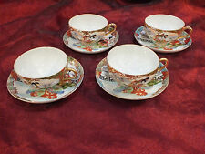 Antique Signed Meiji Period Hand-painted Kutani 4 Cups & Saucer Sets + BONUS