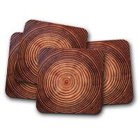 4 Set - Awesome Tree Growth Rings Coaster - Nature Redwood Forest Gift #15834