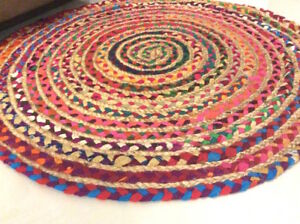 Rainbow Natural Jute & Recycled Cotton Multi Colour Round Braided IN OUTDOOR RUG