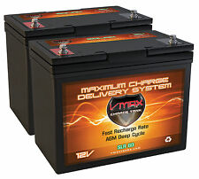 QTY 2 SLR60 SOLAR AGM DEEP CYCLE 12v 120ah total VMAX batteries for 12v or 24v