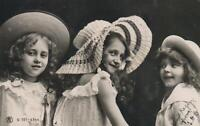 1906 VINTAGE REAL PHOTO of 3 SWEET YOUNG GIRLS in HATS POSTCARD sent to Wallaroo