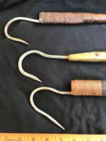 3 Old Fishing Hook Gaffs-Banded Wood Handle-1 Ft, 1.5', 4 Feet Long Display Gift