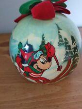 Vintage Disney Mickey Mouse Acrylic Christmas Ball Ornament Skier