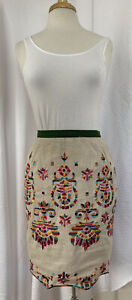 COREY LYNN CALTER Linen Blend Embroidered Skirt 6 Majestic Medallions
