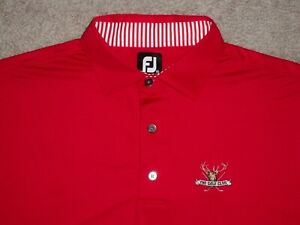 Men's NWOT FOOTJOY Golf Polo 2XL RED w/FJ & THE GOLF CLUB Logo
