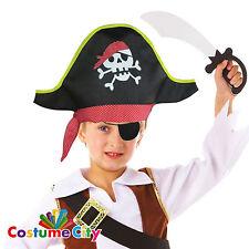 Childs Pirate Skull & Crossbones Hat & Eyepatch Fancy Dress Costume Accessory
