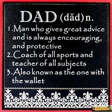 "DECORATIVE ""DAD"" WOOD PLAQUE FATHER'S DAY GIFT Sign Picture Funny Humor Saying"