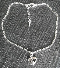 Silver plated ankle chain with silver tone heart charm anklet ankle bracelet