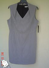 NWT TAHARI ASL BLACK WHITE CAREER SHEATH DRESS SIZE 8 $139